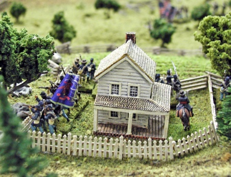 Here a Union brigade of four regiments defends a fenced farm area. -- Terrain and Photo by Doug Kline
