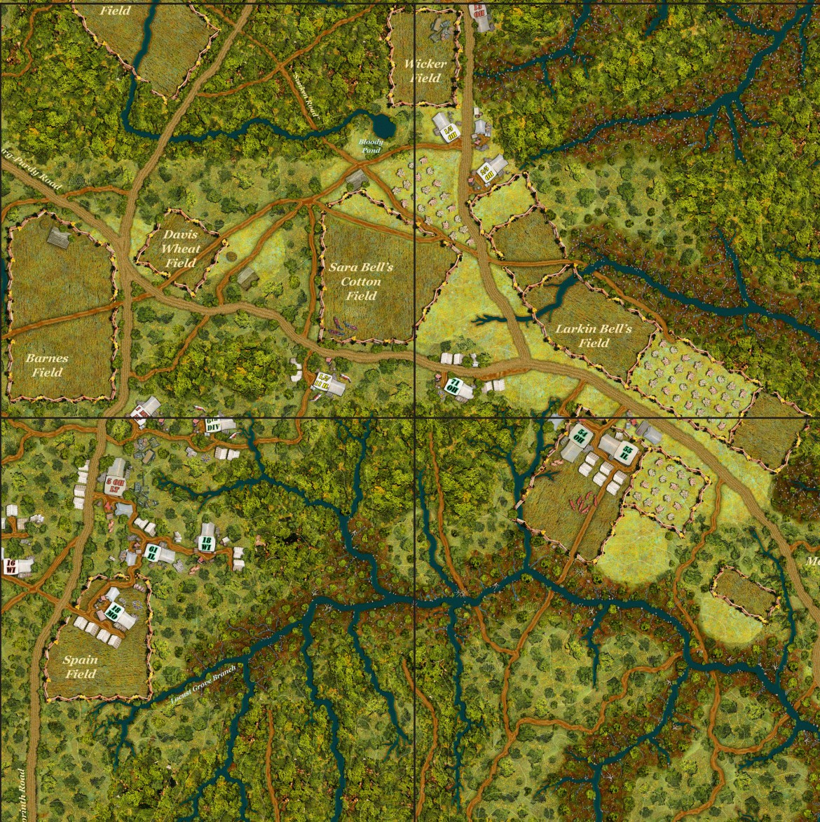 Typical game board of Across a Deadly Field