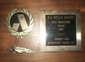 H.G. Wells Award ~ Best Miniature Rules 1983 ~ Johnny Reb Adventure Games Inc.