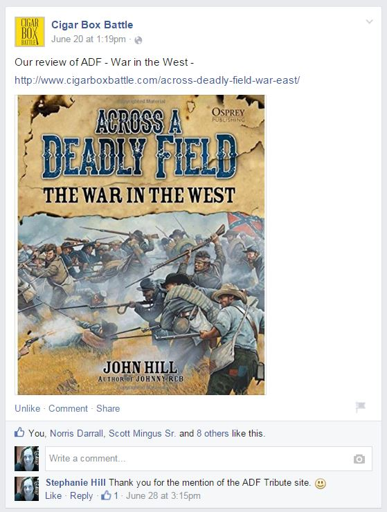 Facebook Post on a Review of ADF: War in the West