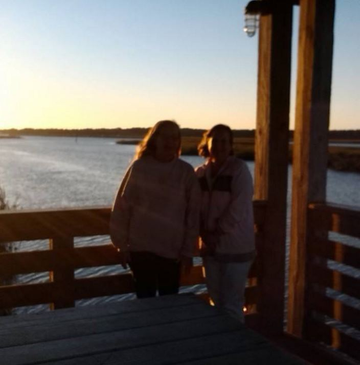 My Mom and I (Lu & Steph) by the marsh at Disney Hilton Head after scattering my father's ashes